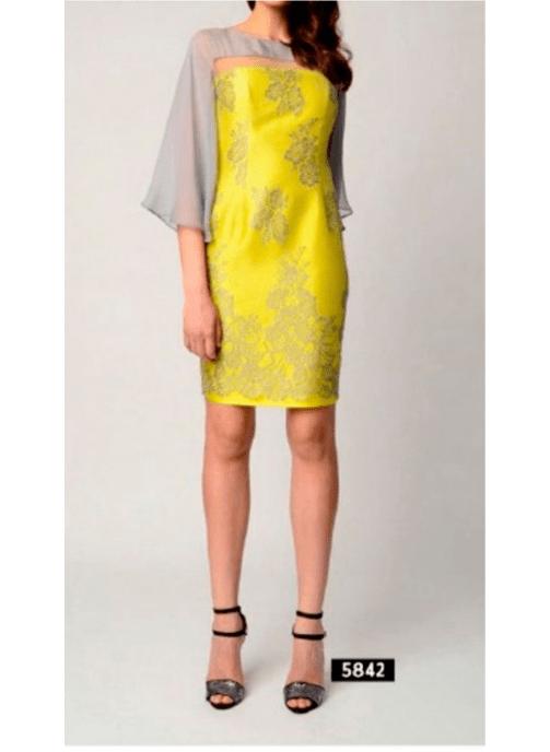 Vestido corto amarillo y gris