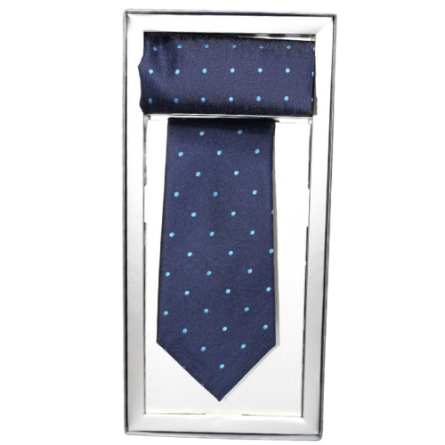corbata azul lunares con panuelo a juego