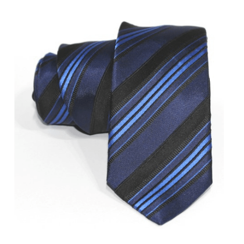corbata azul rayas negro