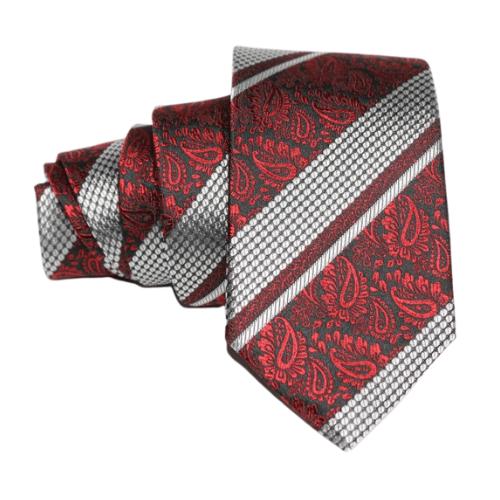 corbata roja y plata brocado