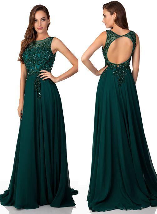 vestido de fiesta verde gasa
