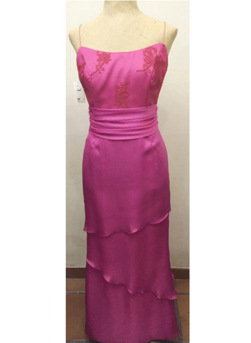 Vestido largo organza en rosa 11