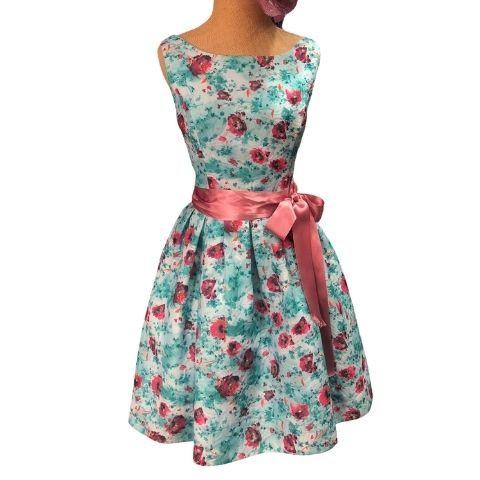 vestido fiesta corto con estampado flores color azul pilukafashion