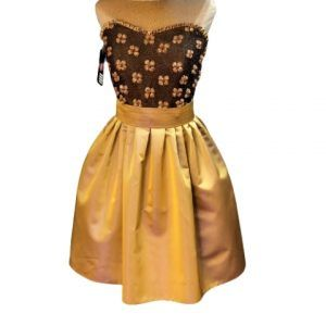 vestido fiesta corto dorado y marron piluka