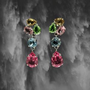 pendientes de plata con piedras rosa verde azul