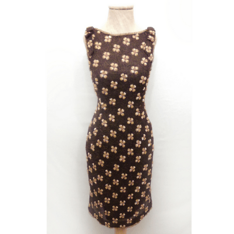Vestido pedreria marrón barato