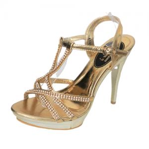 sandalia dorada con cristales