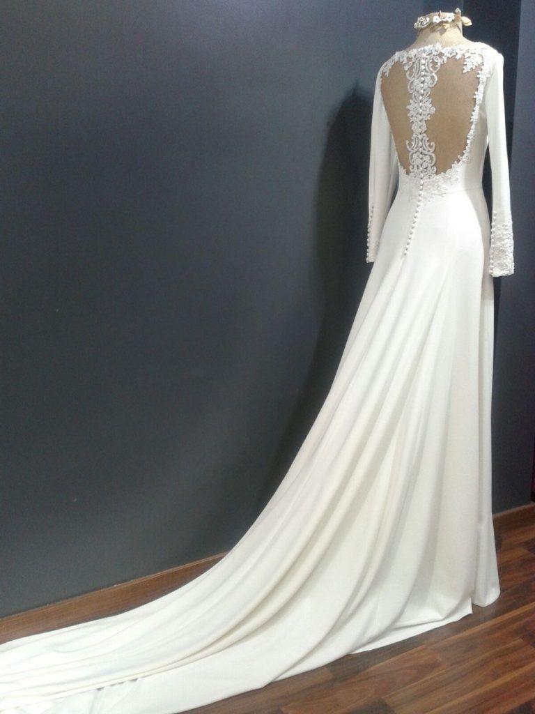 vestido novia blanco de crep