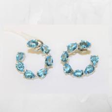 Pendientes aro piedras azul