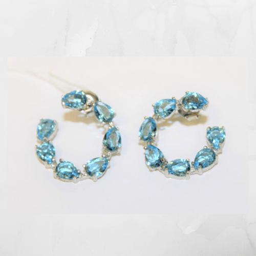 Pendientes aro piedras azul 1