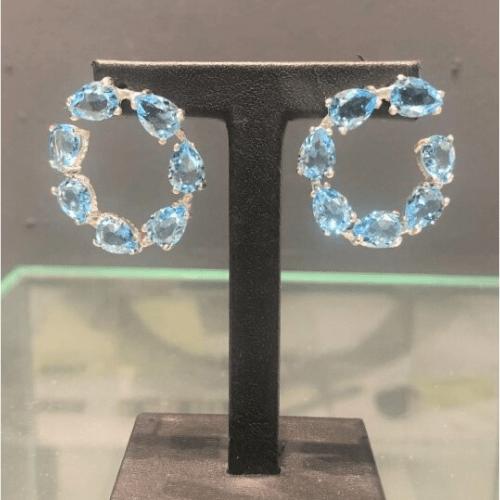 Pendientes aro piedras azul 2