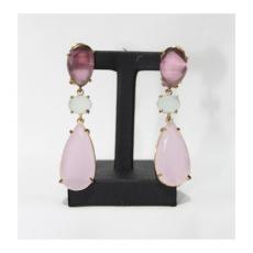 Pendientes plata de ley dorados con piedras rosa, malva y transparente.