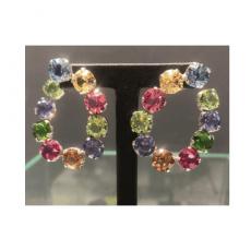 pendientes piedras de cristal swarovski en color rosa, ambar, azul, verde.