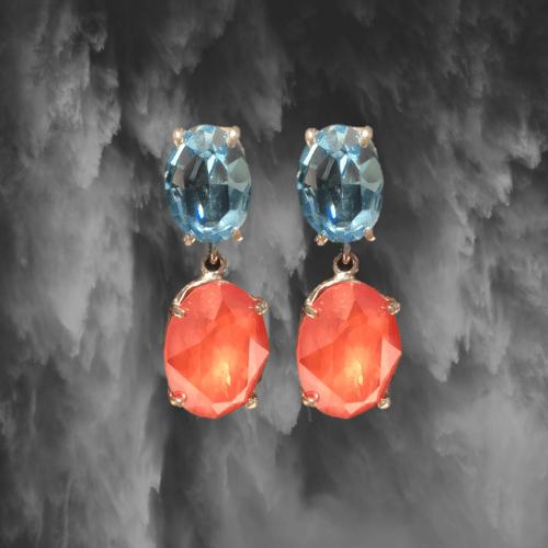 pendientes plata cristal coral y azul