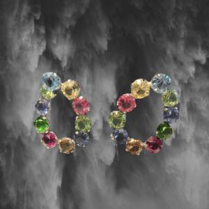 pendientes tipo aro grandes piedras cristal