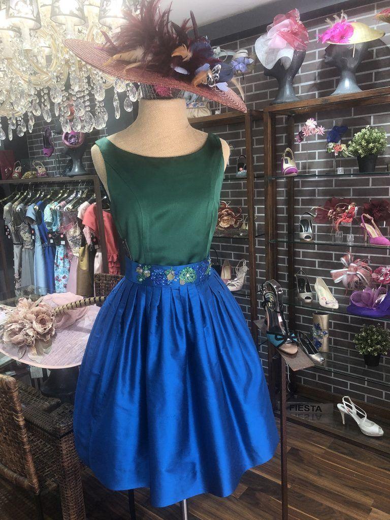 vestido color bicolor