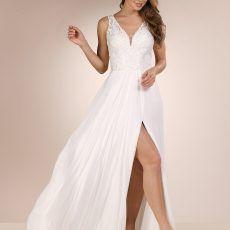 vestido de novia gasa y pedreria