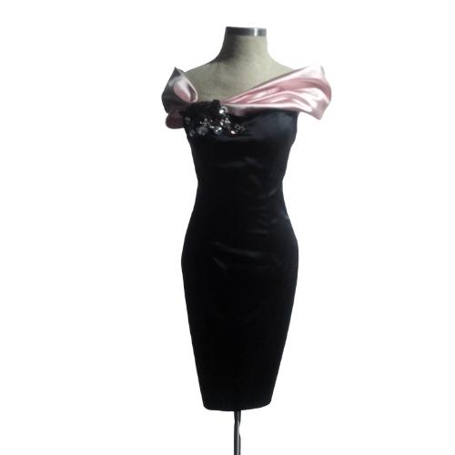 vestido fiesta corto color negro y rosa