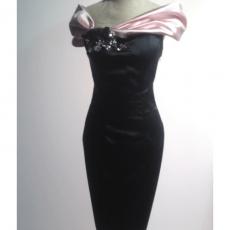 vestido fiesta negro y rosa