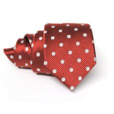 Corbata roja con lunares blancos