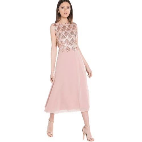Vestido fiesta de corte midi en color rosa nude gasa