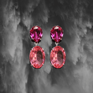 pendientes cristal rosa fucsia