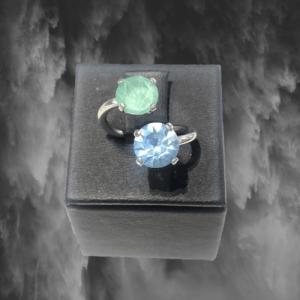 sortija plata de ley piedras cristal azul y verde 1
