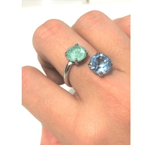 sortija plata de ley piedras cristal azul y verde 2