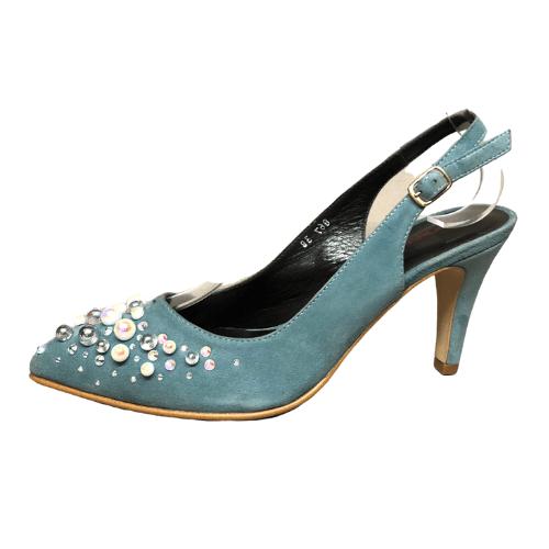 zapato fiesta ante y piel azul