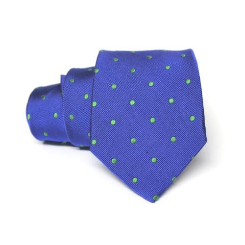 corbata azul electrico con lunares verdes