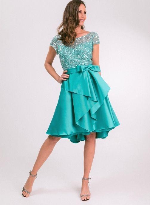 vestido de fiesta corto verde mar pedreria modelo evelyn pilukafashion 1