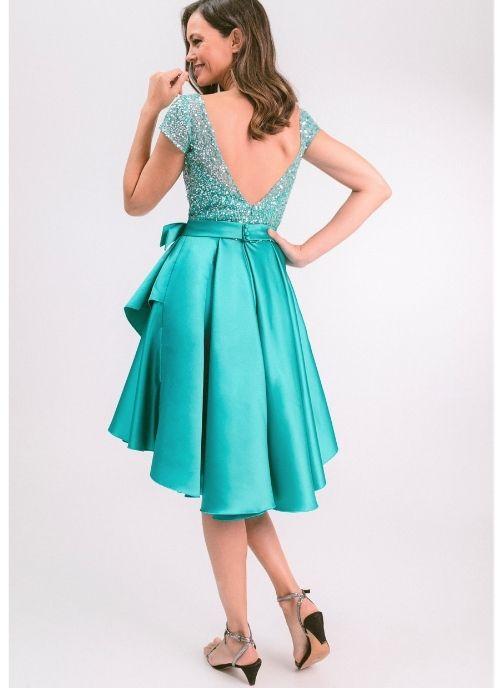 vestido de fiesta corto verde mar pedreria modelo evelyn pilukafashion 2