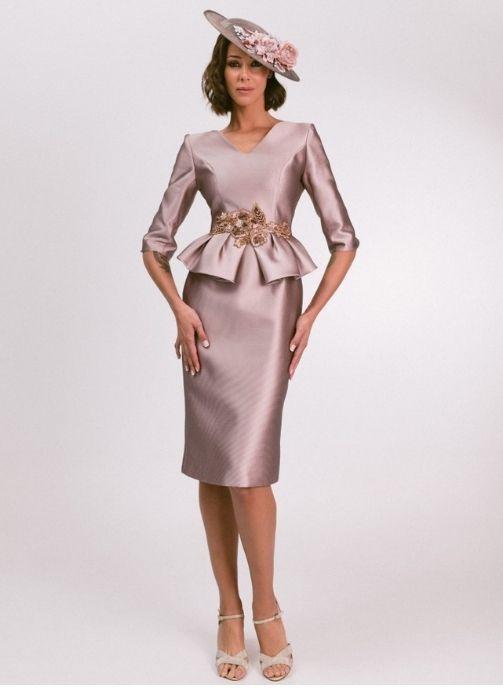 vestido de fiesta madrina en tissort balenciaga rosa nude modelo leif 1