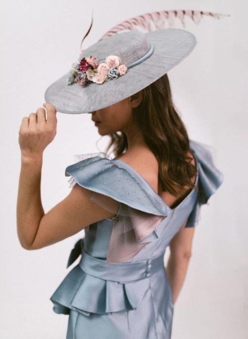 vestido fiesta azul plomo tissort balenciaga modelo londres 2