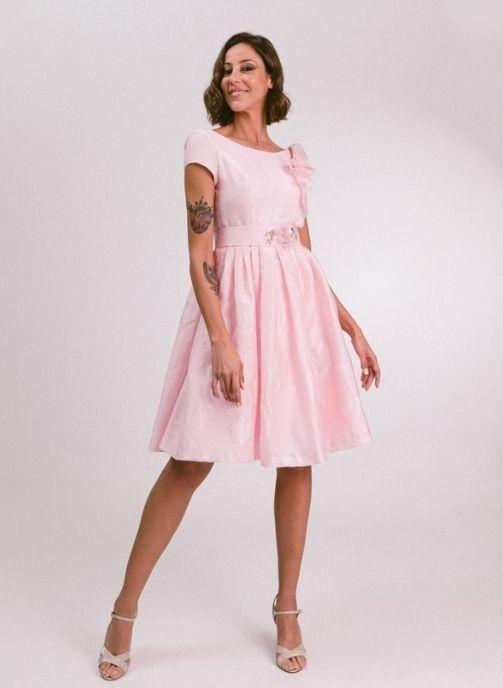 vestido fiesta rosa brocado modelo lali pilukafashion