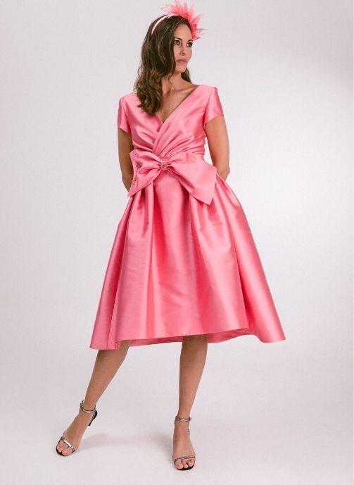 vestido fiesta rosa con vuelo modelo jana pilukafashion 1