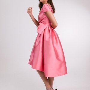 vestido fiesta rosa con vuelo modelo jana pilukafashion 2