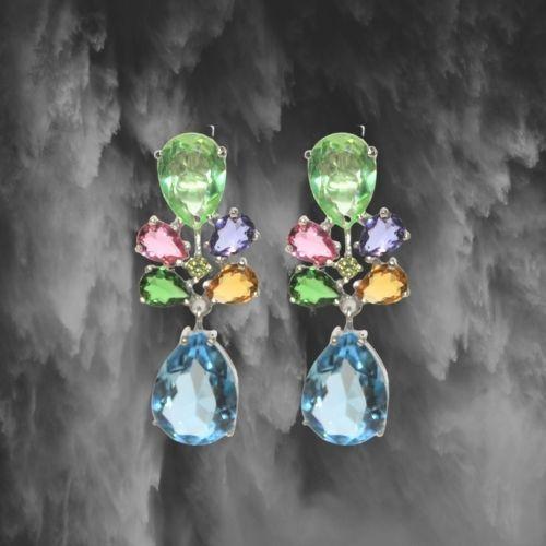 pendietes de plata de ley con piedras cristal agua marina y verde multicolor