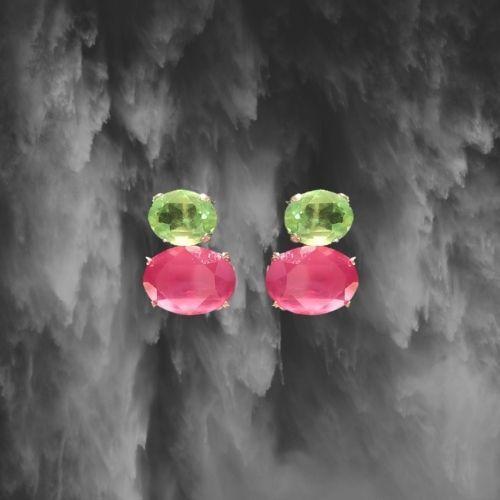 pendientes para boda de plata de ley con piedra rosa y verde