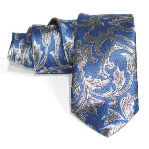 Corbata azul estampado en plata