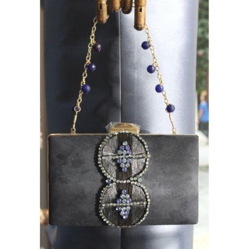 bolso de fiesta azul marino con pedreria 1