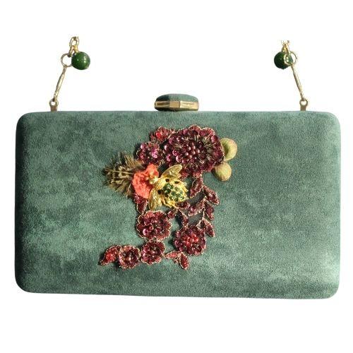 bolso de fiesta verde y granate1