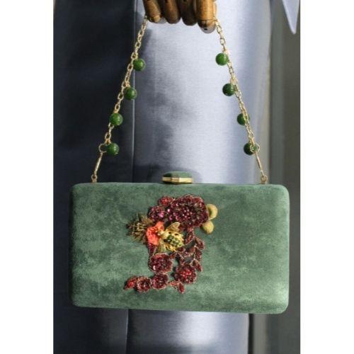 bolso de fiesta verde y granate2
