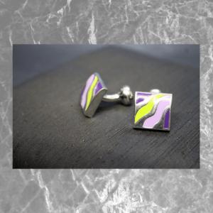 gemelos cuadrados color morado y pistacho