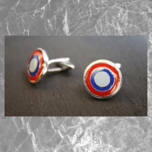 gemelos rojo y azul circulo