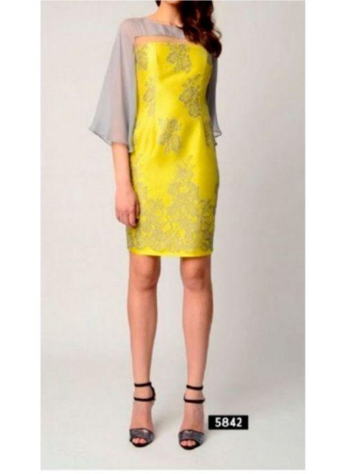 vestido amarillo y gris maria coca