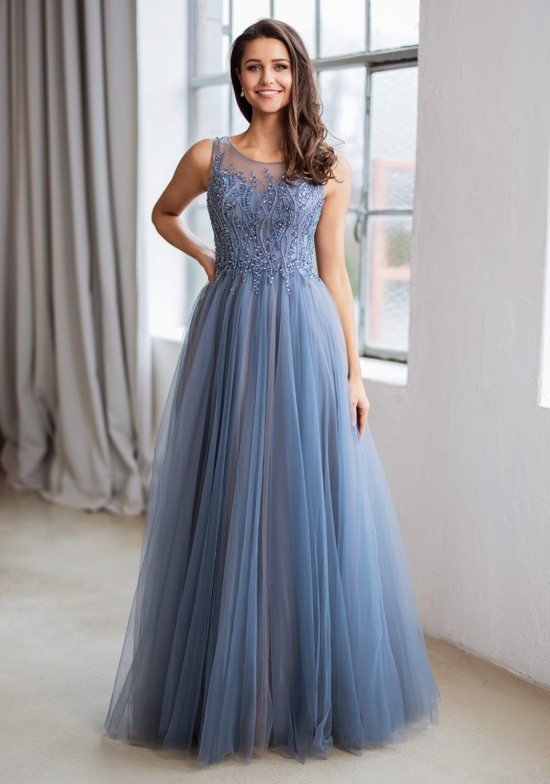 vestido de noche con aplicaciones de pedreria en indigo vintage