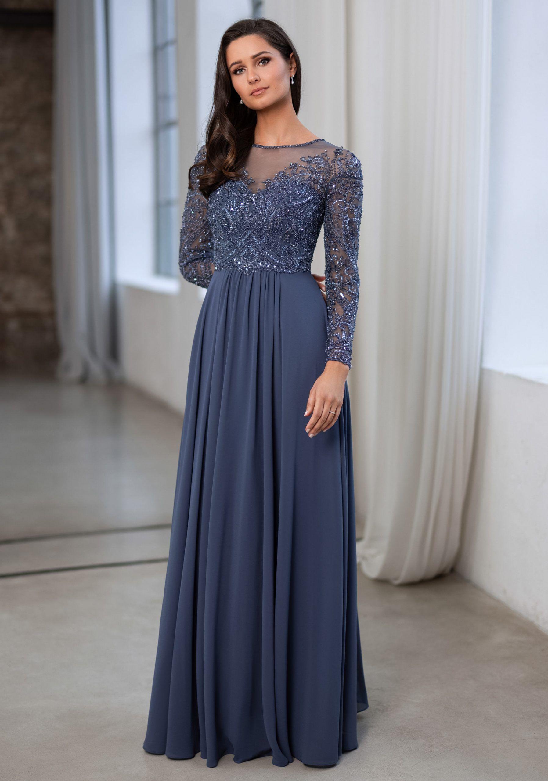 vestido de noche con mangas y aplicaciones de encaje en gris indigo
