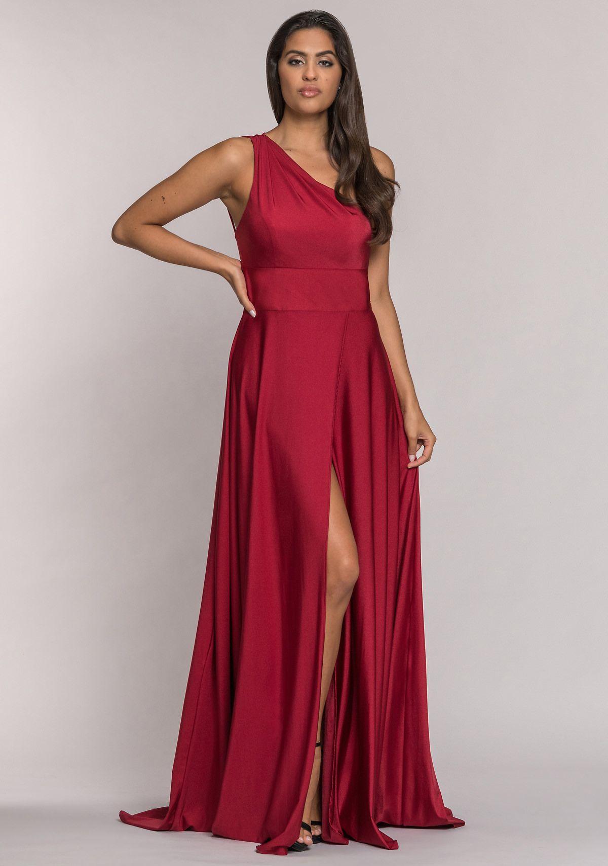 vestido de noche de un solo hombro con abertura en rio red