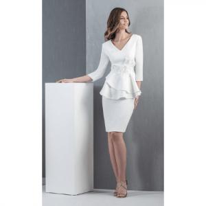 vestido fiesta corto blanco con manga